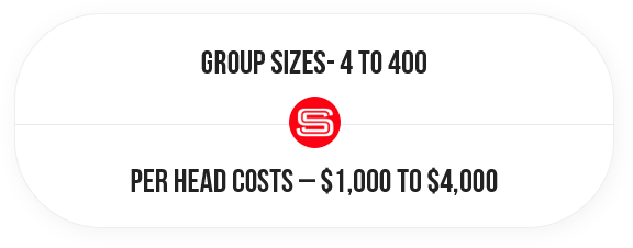 Group Sizes - 4 to 100, Per Head Costs - $1,000 to $4,000